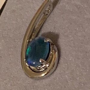 Jewelry - Blue green opal and sterling silver pendant